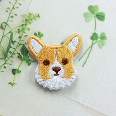 Cute-Dog-corgi-Patch-Embroidered-Face-Iron-On-Sew-On-Patches