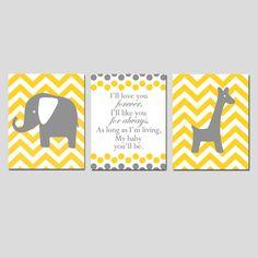 I'll Love You Forever Nursery Art Trio Yellow Gray Grey by Tessyla