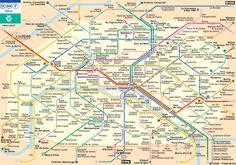 Mapa do sistema metropolitano de transportes de Paris (metrô / RER / trem)