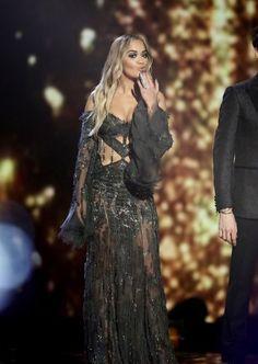 Hot! or Hmm… Rita Ora's X-Factor UK Atelier Versace Fall 2015 Off The Shoulder Sheer Embellished Dress