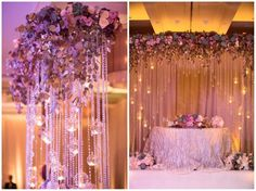 The head table backdrop is designed with real florals, hanging crystals and globes. Make a stunning statement and great memories of your wedding day !