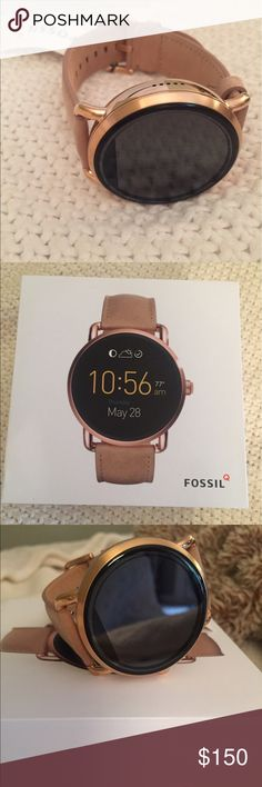 Fossil Q Wander Gen 2 Smart watch NWT! Never worn Smart watch! Light brown leather strap with rose gold metal around watch face. Tech specifics available online everywhere! Ordered it for myself (female), and watch is larger than I prefer for my wrist. Fossil sells it for men or women- just like an Apple Watch is unisex. Fossil Jewelry