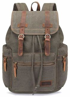 6d79c47f6e75 Shop the latest collection of BLUBOON BLUBOON Canvas Vintage Backpack  Leather Trim Casual Bookbag Men Women Laptop Travel Rucksack from the most  popular ...