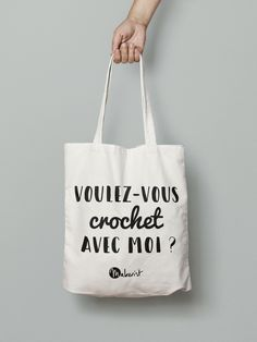 """Citation """"Voulez-vous crochet avec moi ?"""" Perfect Gift For Her, Gifts For Her, Personalized Notebook, Gym Humor, Wall Art Quotes, Cheer Up, Crochet, Gin, Gym Bag"""