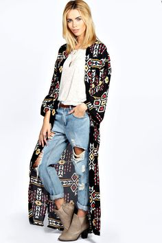 $35, Boohoo Cameron Nordic Print Maxi Kimono. Sold by BooHoo. Click for more info: https://lookastic.com/women/shop_items/91761/redirect
