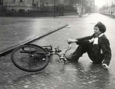 """Woman fell off her bike on a slippery road (ice). Netherlands, Haarlem, December I know how she felt. Girl Falling, Falling Down, Old Bicycle, Bike, Old Photos, Vintage Photos, Winter Cycling, No Mans Land, Thought Of The Day"