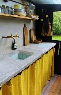 pop of yellow kitchen curtains kitchens Rustic Kitchen, Kitchen Dining, Kitchen Decor, French Kitchen, Country Kitchen, Diy Kitchen, Kitchen Ideas, Kitchen Valances, Kitchen Cabinet Doors