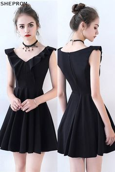 Shop Little Black Flare Homecoming Party Dress V-neck online. SheProm offers formal, party, casual & more style dresses to fit your special occasions. Trendy Dresses, Nice Dresses, Casual Dresses, Short Dresses, Formal Dresses, Sexy Outfits, Chic Outfits, Dress Outfits, Fashion Dresses
