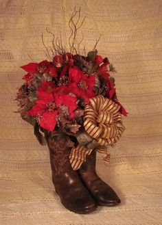 WESTERN Christmas Flower  filled Cowboy Boots! Poinsettias Red, Browns, Gold and Coppers!: