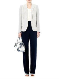 Stella McCartney Single-breasted cotton-ticking blazer