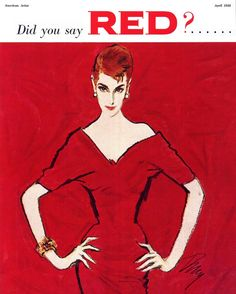 American Artist magazine, April 1956 — illustration by Tod Draz I See Red, Go Red, Pin Up, Terry Dresbach, Outlander Costumes, Simply Red, Photocollage, Red Art, Red Fashion