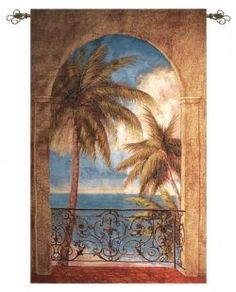 Palm Archway Tropical Tapestry Wall Hanging, x Tropical Bedroom Decor, Tropical Bedrooms, Coastal Decor, Tapestry Bedroom, Tapestry Wall Hanging, Bob Marley Tapestry, Tapestries For Guys, British Colonial Decor, Art Decor