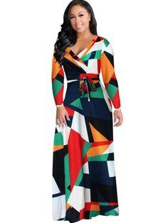 Ravishing Color Block Print Maxi Dress