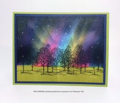 Handmade card with the Northern Lights technique and Lovely As a Tree Stamp Set from Stampin' Up!