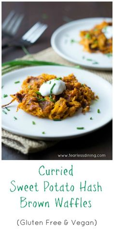 Curried Sweet Potato Hash Brown Waffles are a delicious appetizer or ...