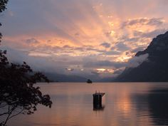 Sunset over Lake Walensee from See-Camping, Walenstadt, Switzerland Lake Camping, Switzerland, Places Ive Been, Europe, France, Celestial, Sunset, Nature, Travel