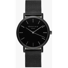 Rosefield Watches Mercer Watch (375 BRL) ❤ liked on Polyvore featuring jewelry, watches, accessories, black jewelry, kohl jewelry, stainless steel wrist watch, black face watches y stainless steel jewelry