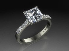 Princess cut diamond engagement ring from Luxedogems.com