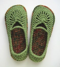 Adult Crochet Mary Jane Skimmers Slippers - Tea Leaf and Fall - Large www.etsy.com
