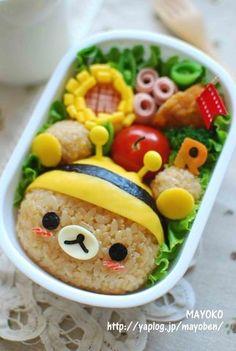 Adorable bumblee Rilakkuma rice ball bento (made from rice, egg crepe, cheese, and nori) Lunch Box Bento, Lunch Snacks, Cute Food, I Love Food, Yummy Food, Kawaii Cooking, Sushi, Food Art For Kids, Kawaii Bento
