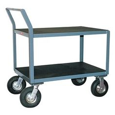 Utility Cart, Vinyl Mat, 2 Shelves, 24x48 by Jamco. $623.55. Utility Cart, Load Capacity 1200 lb., Welded Steel Construction, Gauge Thickness 12, Powder Coat Finish, Color Gray, Overall Length 36 In., Overall Width 19 In., Overall Height 43 In., Number of Shelves 2, Caster Size 8, Caster Type 2 Rigid, 2 Swivel, Caster Material Semi-Pneumatic, Capacity per Shelf 600 lb., Distance Between Shelves 17 In., Shelf Length 48 In., Shelf Width 24 In., Handle Raised Offset