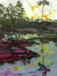 "Saatchi Online Artist: Jaap de Vries; Watercolor, 2012, Painting ""MAST FORREST (SUNSET)"""