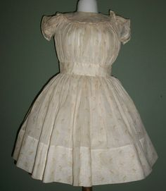 Lovely Early Brown Print Doll Dress, Handwerck, Kestner