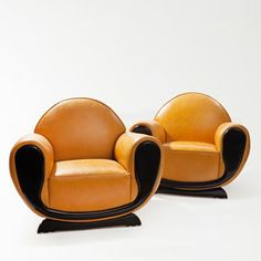 Pair of French Art Deco Fauteuils, Leather Cover, Paris, 30s