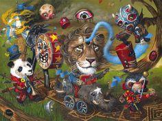 The lost parade - Mark Brown 2 Arte Lowbrow, Mark Brown, Surreal Artwork, Brown Art, Pop Surrealism, Dream Art, Weird Art, Art Design, Whimsical Art