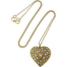 Pippa Small 18-karat gold diamond heart necklace found on Polyvore