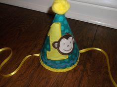 Boys First Birthday Party Hat  Mod Monkey Birthday Hat  by LilLids, $24.99