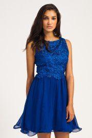Cobalt Lace Overlay Detail Sleeveless Chiffon Prom Dress #dressy