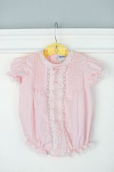 0-6 month Embroidered Pink Baby Bubble Romper, Cute for Summer, Vintage by Nanette, Lace Trim