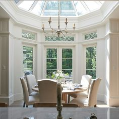 Dome glass ceiling in dining room conservatory.