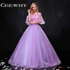 >> Click to Buy << CEEWHY Ruffles Elegant Prom Dress Vestido De Festa Vintage Appliqued Evening Dress Long Formal Dress Robe De Soiree Half Sleeve #Affiliate