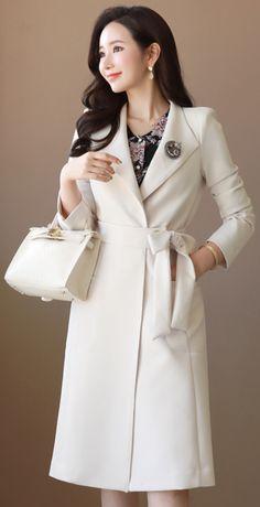 StyleOnme_Edge Stitch Detail Waist Tie Long Jacket #ivory #long #jacket #springtrend #koreanfashion #kstyle #kfashion #seoul #dailylook