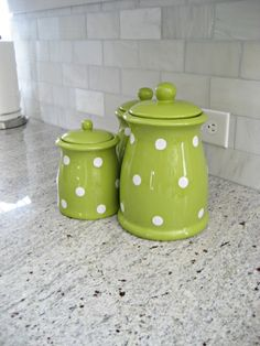 Cute green polka dot canister set. Adds a nice pop of color to the kitchen!
