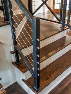 Chip and Joanna Gaines help a young couple transform a conventional brick house into a stylish home that& ideally suited for a new family and that, on the inside, effectively marries rustic and traditional styles. Stair Railing Design, Staircase Railings, Staircase Ideas, Open Staircase, Banisters, Staircases, Rustic Stairs, Modern Stairs, Farmhouse Stairs