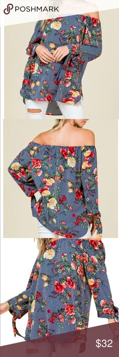 Striped floral shirt Striped floral shirt- you can wear it off the shoulder or not. Tops Blouses