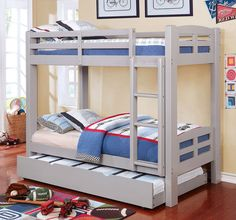 Harriet Bee Hanahan Twin over Twin Bed Bed Frame Color: Gray Bunk Beds With Drawers, Bunk Bed With Desk, Full Bunk Beds, Solid Wood Bunk Beds, Wooden Bunk Beds, Trundle Mattress, Low Loft Beds, Twin Platform Bed, Bunk Bed Designs