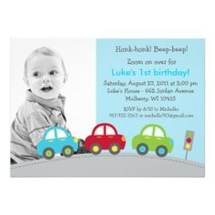 Boys Transportation Car Photo Birthday Invitations