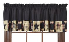 "The Revere Valance measures 16"" x 72"" and is a 100% cotton. Black and tan contrast strikingly with a hint of red in the Revere Collection. Plaids and solids are patched together in squares and stars and each star is surrounded with embroidery. Lined. Beautifully compliments Country, Cabin, Primitive, and Rustic Decor Styles!"