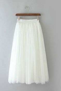 White Tulle Midi Skirt. This is cute