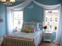 teen room, Blue Bedroom Design Ideas For Women Design With Comfortable Bed With Blue Duvet Covers And Pillow With Chandelier With Glass Window And White Curtain With Table Lamp On The Small Table With Single Drawer: Bedroom Ideas for Women Girl Room, Small Bedroom Decor, Decor, Girls Room Decor, Bedroom Decor, Bedroom Design, Blue Bedroom, Home Decor, Room