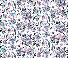 Fabric Flower Sprinkles Large Black White Pink Blue Swirls By