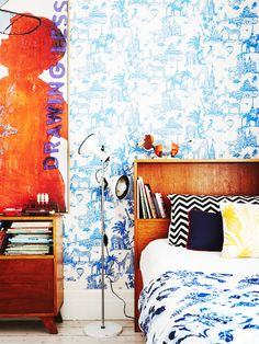 Graphic bedroom with lots of color and pattern