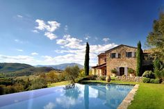 Casa del Leone is the name of this rustic home located in Castello di Reschio, a private estate that covers 2,700 acres of Umbrian countryside on the border with Tuscany.