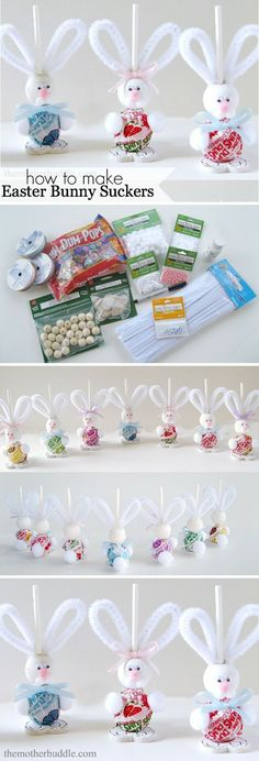 DIY Easter Bunny Suckers [Tutorial] : Dums Suckers for the body wooden ball for head wooden heart for feet googly eyes pom pom for nose, paws, and tail pipe cleaners for ears blue or pink ribbon... what a fun kid project for Easter! http://www.themotherhuddle.com/easy-easter-craft-easter-bunny-suckers/ << Image credit and more instructions in that link.