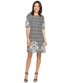Christin Michaels Atlanta Jacquard Dress (Black/Ivory) Women's Dress
