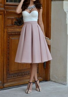 Pink Plain Pleated Skater Flared Vintage High Waisted Knee Length Skirt